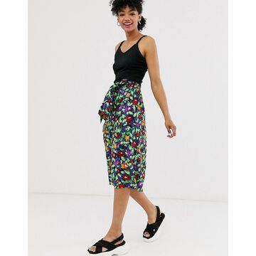 Monki floral print tie waist midi skirt in black
