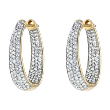 14K Yellow Gold 1 ct. TDW Diamonds Hoop Earrings by Beverly Hills Charm