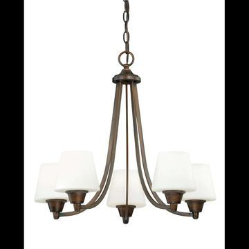 Vaxcel Lighting H0099 Calais 5 Light Single Tier Chandelier with Frosted Glass Shades - 24 Inches Wide Venetian Bronze Indoor Lighting Chandeliers