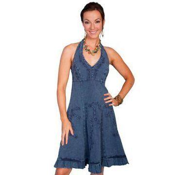 Scully Women's 100% Peruvian Cotton Halter Dress with Soutache Decoration, PSL-053-DBL-L