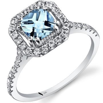Oravo 14k White Gold Cushion Gemstone Halo Ring