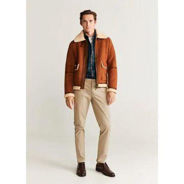 MANGO MAN - Regular fit check cotton shirt khaki - S - Men