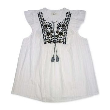 Style & Co Cotton Embroidered Ruffle-Sleeve Top, Created for Macy's
