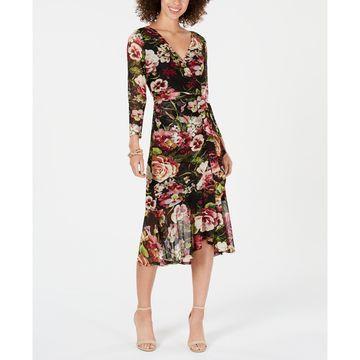 Petite Floral-Print Wrap Midi Dress