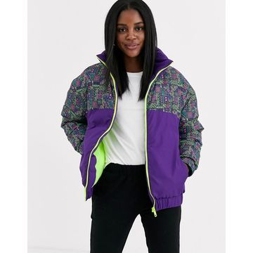 Brave Soul apres padded coat in 90s print-Purple