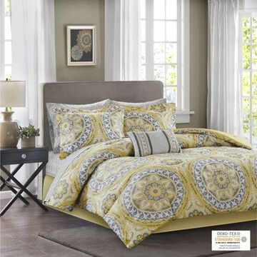 Home Essence Nepal Bed in a Bag Comforter Bedding Set, Yellow, Full