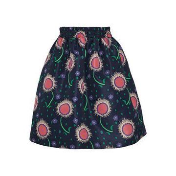 Redvalentino Gathered Printed Satin-faille Skirt