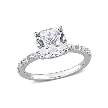 3.25 Carat T.G.W. Created White Sapphire 10kt White Gold Engagement Ring