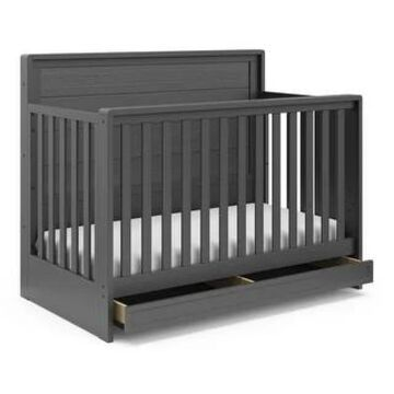 Storkcraft Luna 4-in-1 Convertible Crib with Drawer (Grey)