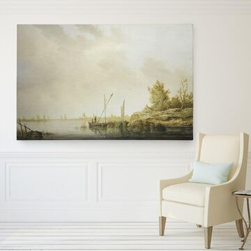 Wexford Home Aelbert Cuyp's 'River Scene Windmills' Gallery Wrapped Canvas