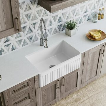 MR Direct 412 Fireclay Single Bowl Farmhouse Kitchen Sink