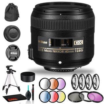 Nikon AF-S DX Micro NIKKOR 40mm f/2.8G Lens Includes Filter Kits and (Black)