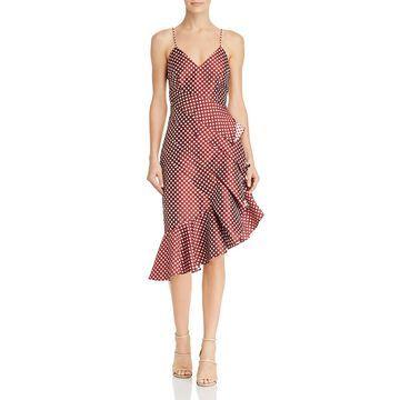 Keepsake Womens Love Light Polka Dot Ruffled Cocktail Dress