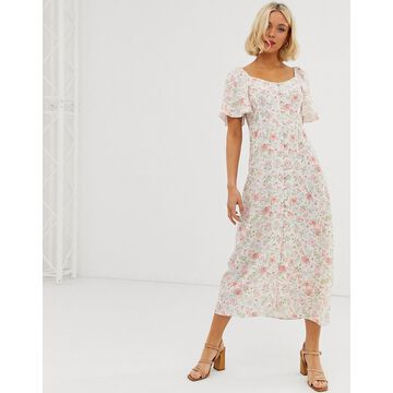 New Look button through midi prairie dress in white floral print