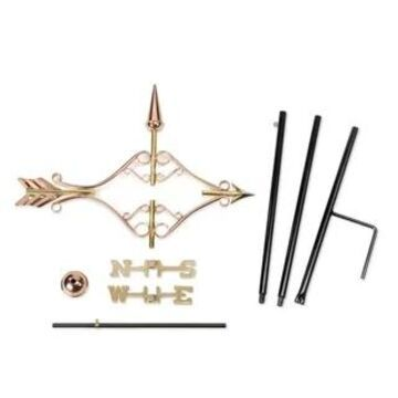Victorian Arrow Pure Copper Garden Weathervane with Garden Pole by Good Directions (roof mount)