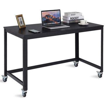 Rolling Computer Desk Wood Top Metal Frame Laptop Table Study Workstation Black