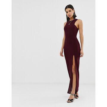AX Paris square neck maxi dress with side split-Red