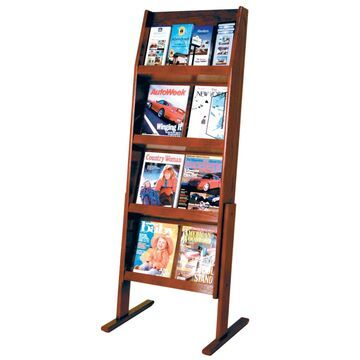 LD49-16FSMH 4 x 4 in. Slope 16 Pocket Standing Literature Display - Mahogany