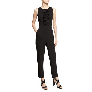 Ruched Front Straight-Leg Jumpsuit
