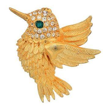 Kenneth Jay Lane 1.5 Humming-Bird Pin (Gold/Crystals/Emerald) Brooches Pins