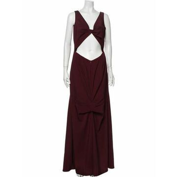 Plunge Neckline Long Dress Red
