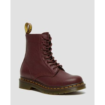 Dr. Martens, 1460 Women's Pascal Virginia Leather Boots in Cherry Red, Size 7