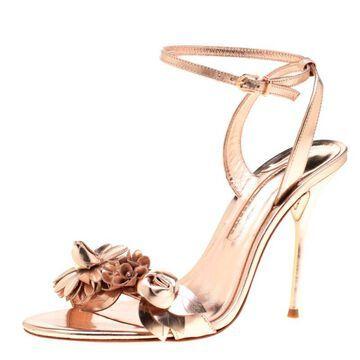 Sophia Webster Metallic Rose Gold Leather Lilico Floral Embellished Ankle Wrap Sandals Size 40