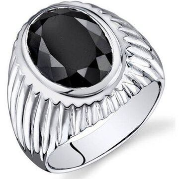 7.00 Carat T.G.W. Men's Black Onyx Rhodium-Plated Sterling Silver Engagement Ring