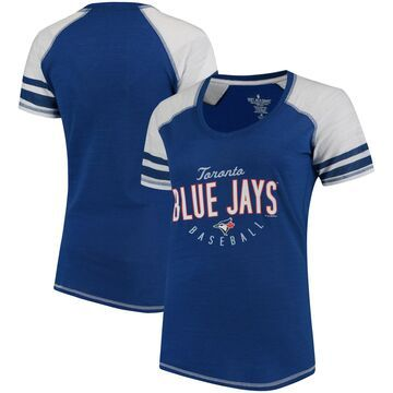 Toronto Blue Jays Soft As A Grape Women's Down the Line Color Blocked Tri-Blend V-Neck Raglan Sleeve T-Shirt - Royal