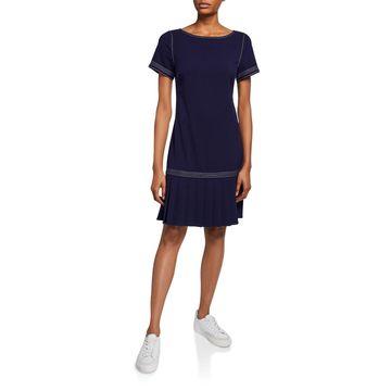 Crepe Sheath Dress With Pleated Hem