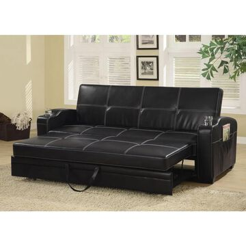 Coaster Company Contemporary Black Vinyl Sofa Bed