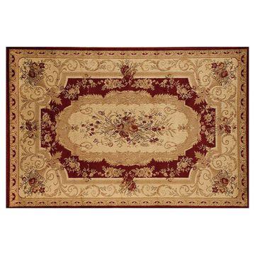 Rugs America Sorrento Aubusson Framed Floral Rug, Red, 5X8 Ft