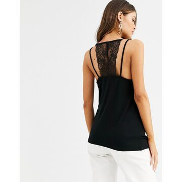 Y.A.S lace trim cami top with back detail-Black