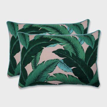 2pk Swaying Palms Oversized Rectangular Outdoor Throw Pillow Capri Blue - Pillow Perfect