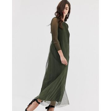 Y.A.S pleated tulle sheer maxi dress-Green