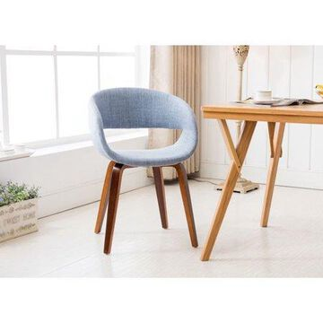 Porthos Homes Mid-century Style Dining Chair With Fabric Upholstery, Wooden Legs And Arm Rests (Various Colors)