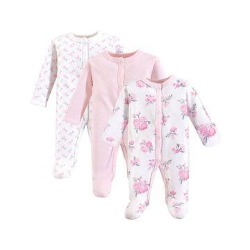 Hudson Baby Girls' Footies Basic - Pink Floral Sleep & Play Footie Set - Newborn