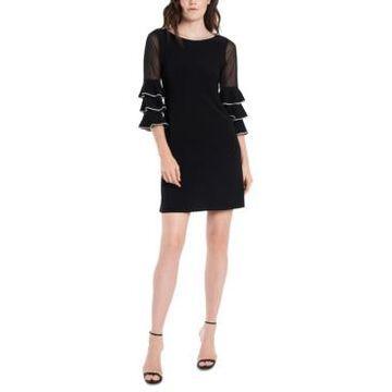 Msk Embellished Illusion-Sleeve Sheath Dress
