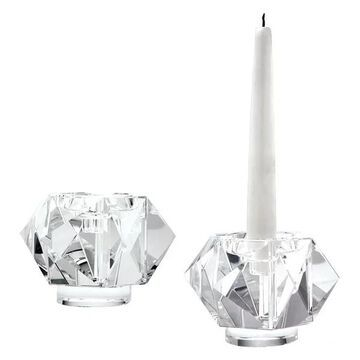 Lazy Susan Faceted Star Crystal Candleholders, Small, Set Of 2
