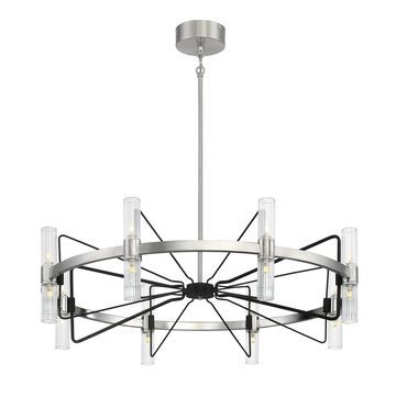 Metropolitan Mass Transit 16-Light Brushed Nickel and Sand Coal Chandelier with Clear Ribbed Glass Shades   N7876-420-L