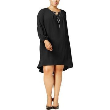 NY Collection Womens Plus Hi-Low Balloon Sleeve Wear to Work Dress