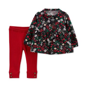 Carter's Baby Girls 2-Pc. Floral Button-Front Top & Pants Set