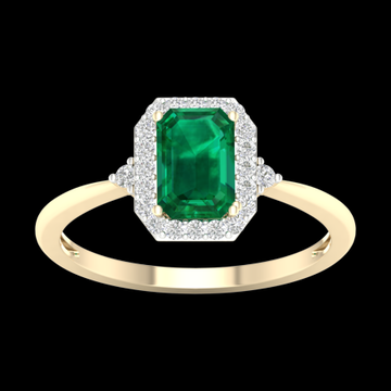 Imperial Gemstone 10K Yellow Gold Octagonal Cut Lab Created Emerald 1/6 CT TW Diamond Halo Women's Ring