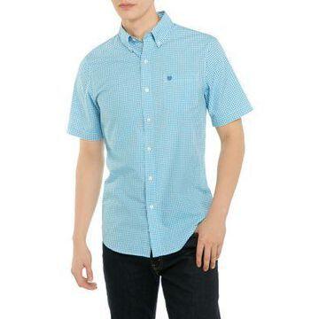 Chaps Men's Mini Gingham Check Button Down Shirt - -