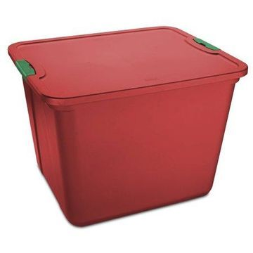 Mainstays 20 Gallon Red Storage Container, Green Latches, Set of 8