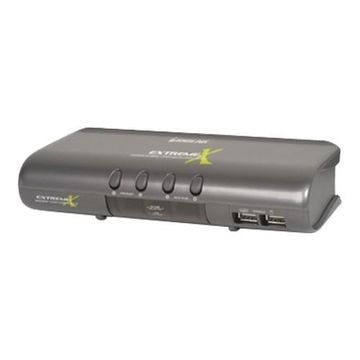 Iogear4 port MiniView Extreme Multimedia KVMP Switch with USB & PS/2 Cables(GCS1734 )