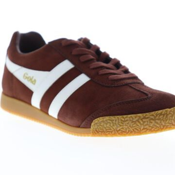 Gola Harrier Suede Mens Brown Suede Lace Up Low Top Sneakers Shoes