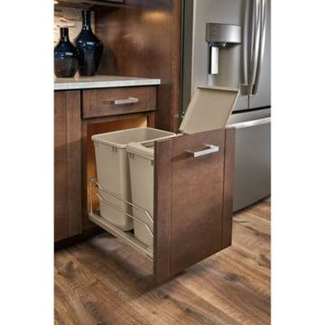 Rev-A-Shelf 53WC-1835SCDM-212 Double 35 qt. Pull-Out Champagne Waste Container w/Soft-Close Slides