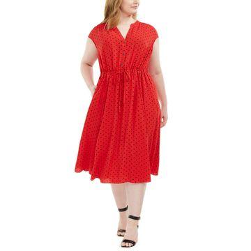Ann Klein Plus Size Beekman Dot-Print Dress