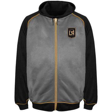 Men's Majestic Charcoal/Black LAFC Big & Tall Poly Fleece Full-Zip Hoodie